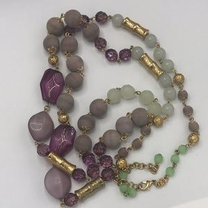 Joan Rivers Purple Green Wood/Glass Bead Necklace